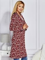 Płaszcz damski w ornamentowe wzory bordowe                                  zdj.                                  5