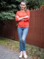 Pomarańczowa bluza oversize z łączonych materiałów