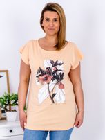 Pomarańczowy t-shirt z roślinnym motywem PLUS SIZE                                  zdj.                                  1