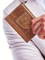 Portfel męski jasnobrązowy skórzany z emblematem                                  zdj.                                  1