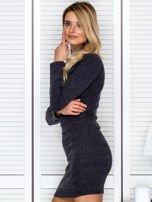 Prążkowana sukienka lace up z chokerem ciemnoszara                                  zdj.                                  5