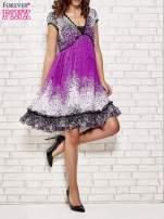 Purpurowa sukienka baby doll w ciapki                                  zdj.                                  4