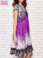 Purpurowa sukienka baby doll w ciapki                                  zdj.                                  3