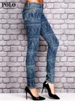 RALPH LAUREN Ciemnoniebieskie spodnie jeansowe w azteckie wzory                                  zdj.                                  3