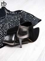 ROCCOBAROCCO Czarnosrebrne botki na szpilkach w szpic