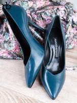ROCCOBAROCCO niebieskie skórzane szpilki grain leather w szpic                                  zdj.                                  1