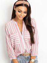 RUE PARIS Różowo-biała bluzka Sienna                                  zdj.                                  1