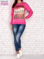 Różowa bluza z napisem GLITTER SPARKLE SHINE                                                                          zdj.                                                                         2