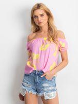 Różowa bluzka hiszpanka w kwiaty                                  zdj.                                  1