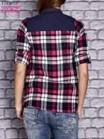 Różowa koszula w kolorową kratę z denimową wstawką                                  zdj.                                  4