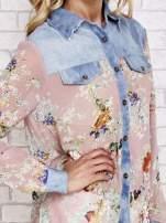 Różowa koszula w kwiaty ze wstawkami z denimu                                  zdj.                                  5