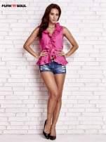 Różowa koszula z wiązaniem i falbankami FUNK N SOUL                                  zdj.                                  4