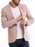Różowa marynarka męska slim fit w drobny deseń                                  zdj.                                  5