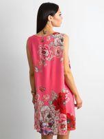 Różowa sukienka damska w kwiaty                                  zdj.                                  2