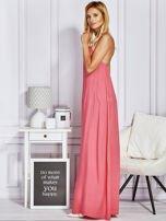 Różowa sukienka maxi z wiązaniem na szyi                                                                          zdj.                                                                         4