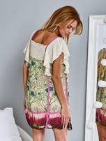 Różowa sukienka z rękawkami typu motylek                                  zdj.                                  5