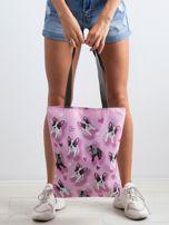 Różowa torba na ramię z nadrukiem                                  zdj.                                  3