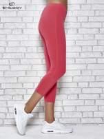 Różowe legginsy sportowe z aplikacją z dżetów na nogawkach                                                                          zdj.                                                                         2