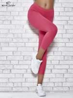Różowe legginsy sportowe z dżetami na dole nogawki                                  zdj.                                  1