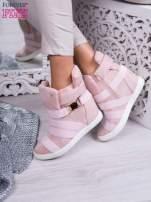 Różowe zamszowe sneakersy bandage z klamerką                                  zdj.                                  1