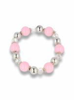 Różowo - srebrna Bransoletka koralikowa