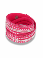 Różowo-srebrna Bransoletka na zamszowym pasku z cyrkoniami
