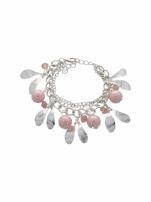 Różowo - srebrna Bransoletka z zawieszkami                                  zdj.                                  2