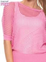 Różowy ażurowy sweter oversize                                  zdj.                                  5