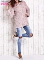 Różowy futrzany sweter kurtka na suwak                                  zdj.                                  11