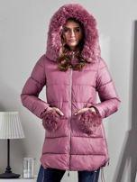 Różowy płaszcz z futrzanymi kieszeniami                                  zdj.                                  7