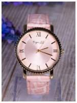 Różowy zegarek damski na skórzanym lakierowanym pasku                                                                          zdj.                                                                         2