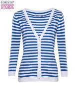 Rozpinany sweter w biało-niebieskie paski z kieszonkami po bokach                                  zdj.                                  5