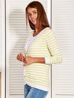 Rozpinany sweter w biało-żółte paski z kieszonkami po bokach                                  zdj.                                  7