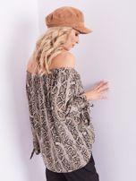 SCANDEZZA Beżowa bluzka hiszpanka wężowa                                  zdj.                                  6