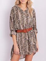 SCANDEZZA Beżowa sukienka animal print                                  zdj.                                  2