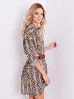 Beżowa sukienka animal print                                  zdj.                                  5