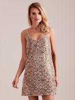 SCANDEZZA Beżowa sukienka mini                                   zdj.                                  2