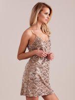 SCANDEZZA Beżowa sukienka mini                                   zdj.                                  3
