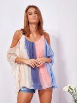 SCANDEZZA Beżowo-niebieska bluzka ombre bez ramion z cekinami                                  zdj.                                  1