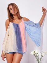 SCANDEZZA Beżowo-niebieska bluzka ombre bez ramion z cekinami                                  zdj.                                  7