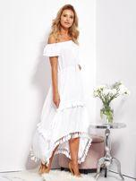 SCANDEZZA Biała asymetryczna sukienka hiszpanka z frędzlami                                  zdj.                                  4