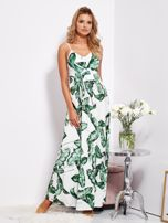 SCANDEZZA Biało-zielona maxi sukienka w liście z wiązaniem                                  zdj.                                  1