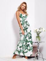 SCANDEZZA Biało-zielona maxi sukienka w liście z wiązaniem                                  zdj.                                  4