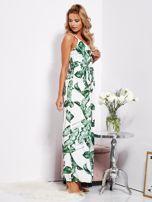 SCANDEZZA Biało-zielona maxi sukienka w liście z wiązaniem                                  zdj.                                  5