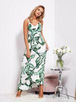 SCANDEZZA Biało-zielona maxi sukienka w liście z wiązaniem                                  zdj.                                  9