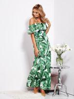 SCANDEZZA Biało-zielona sukienka hiszpanka maxi w tropikalne liście                                  zdj.                                  10