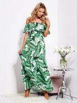 SCANDEZZA Biało-zielona sukienka hiszpanka maxi w tropikalne liście                                  zdj.                                  11