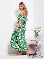 SCANDEZZA Biało-zielona sukienka hiszpanka maxi w tropikalne liście                                  zdj.                                  6