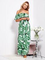 SCANDEZZA Biało-zielona sukienka hiszpanka maxi w tropikalne liście                                  zdj.                                  9