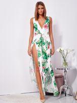 SCANDEZZA Biało-zielona sukienka maxi floral print z rozcięciem                                  zdj.                                  1